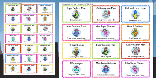 Superhero Themed Characteristics of Effective Learning Stickers - superhero, stickers