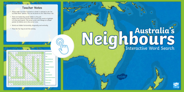 Australia Word Map.Australia S Neighbours Interactive Word Search Achassk067 Year 3 Ac
