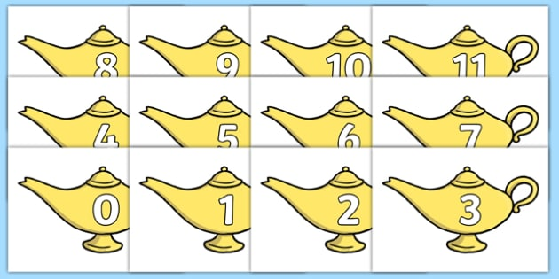 0 to 20 on Aladdin's Lamp Cut-Outs