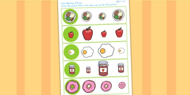 Food Themed Size Matching Worksheet - size, sort, match, foods