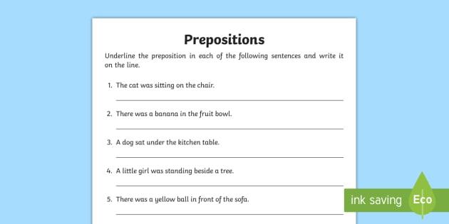 Underline The Preposition Worksheets Teaching Resources