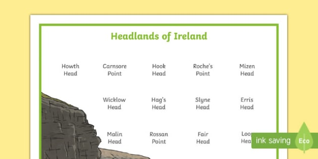 Headlands of Ireland Word Mat