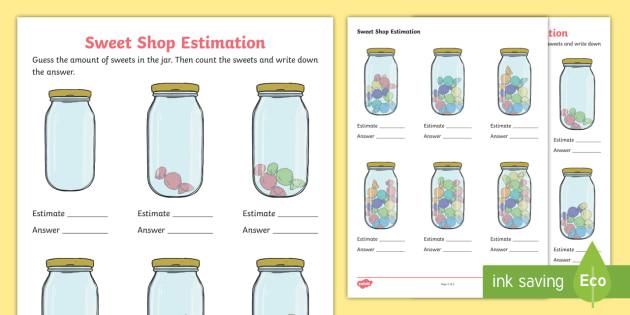 new sweet shop estimation worksheet estimating sweets worksheet. Black Bedroom Furniture Sets. Home Design Ideas
