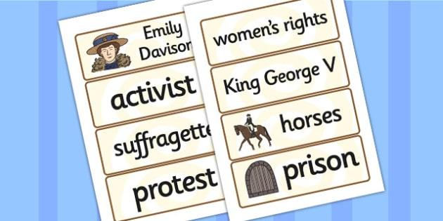 Emily Davison Word Cards - emily davidson, word cards, topic cards, themed word cards, themed topic cards, key words, key word cards, keyword, writing aid