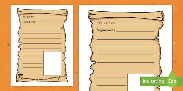 Magic Potion Recipe Writing Frames on