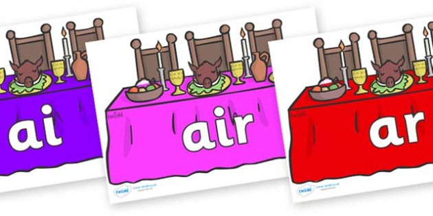 Phase 3 Phonemes on Dining Tables (Multicolour) - Phonemes, phoneme, Phase 3, Phase three, Foundation, Literacy, Letters and Sounds, DfES, display