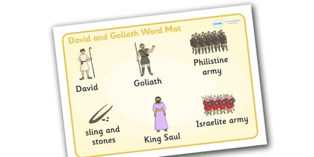 David and Goliath Word Mat - David and Goliath, David, King Saul, Goliath, word mat, writing aid, mat, Philistine army, Israelite, sling, stones, sling and stones, death, kill, small, giant, clever