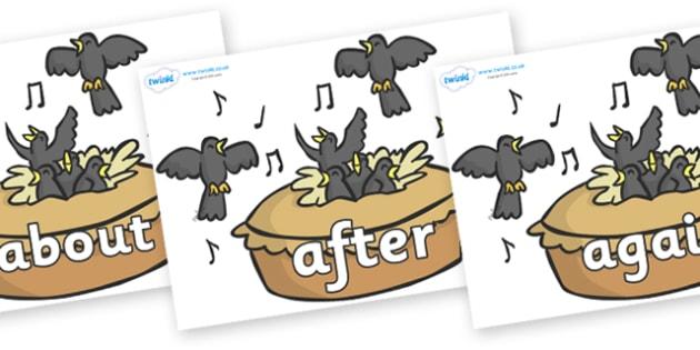 KS1 Keywords on Blackbirds in a Pie - KS1, CLL, Communication language and literacy, Display, Key words, high frequency words, foundation stage literacy, DfES Letters and Sounds, Letters and Sounds, spelling