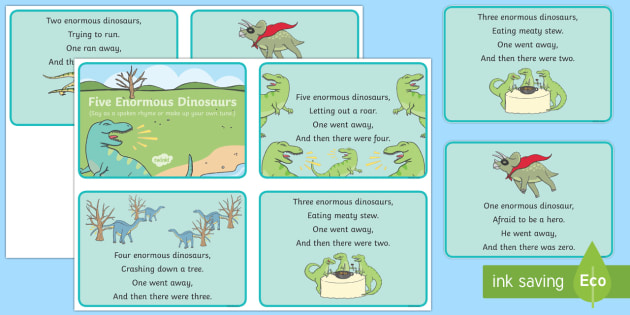 Five Enormous Dinosaurs Counting Song Sequencing Cards - counting
