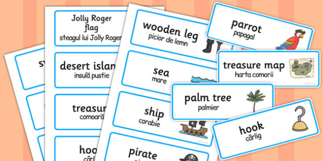 Pirate Word Cards Romanian Translation - romanian, pirate, word cards