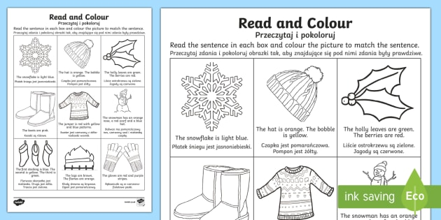 Winter Read and Colour Activity Sheet English/Polish - Winter Read and Colour Activity Sheet - winter, read and colour, read, colour, activity, Polish tran