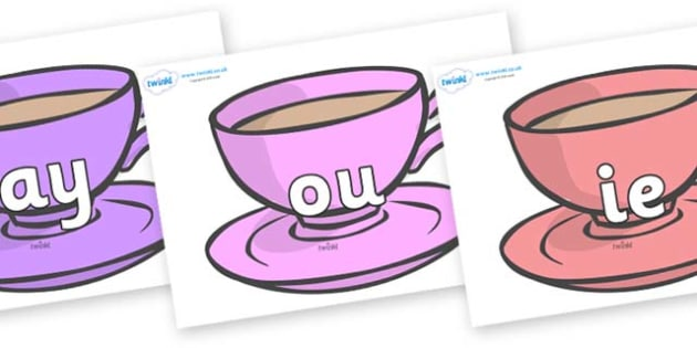 Phase 5 Phonemes on Cups - Phonemes, phoneme, Phase 5, Phase five, Foundation, Literacy, Letters and Sounds, DfES, display