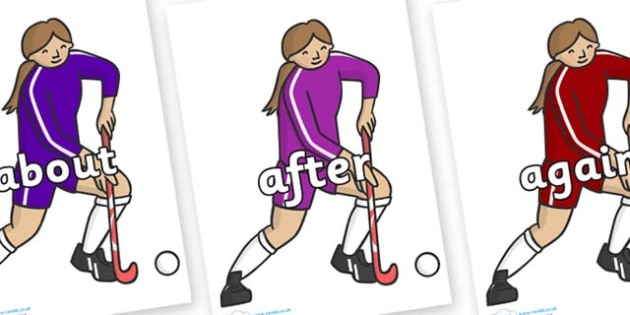 KS1 Keywords on Hockey Players - KS1, CLL, Communication language and literacy, Display, Key words, high frequency words, foundation stage literacy, DfES Letters and Sounds, Letters and Sounds, spelling
