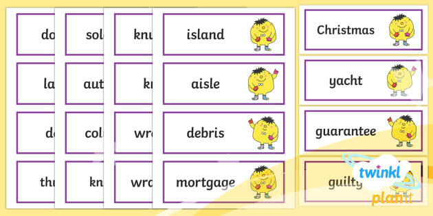 PlanIt English Additional Resources Year 5 Term 1B Spelling Word Cards - Spellings Year 5, Y5, cards, spelling, SPaG, GPS, display, flashcards