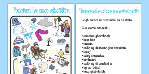 Feicim le mo shúilín Worksheet / Activity Sheet - roi, irish, gaeilge, I spy, Winter, vocabulary, game, worksheet, Geimhreadh