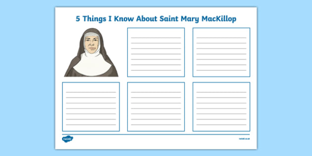 5 Things I Know About Saint Mary MacKillop Activity Sheet-Australia, worksheet
