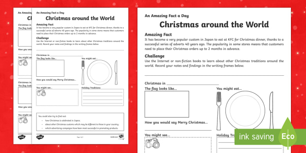 Christmas around the World Worksheet / Activity Sheet - Amazing Fact Of The Day, worksheet / activity sheets, powerpoint, starter, morning activity, December, around th