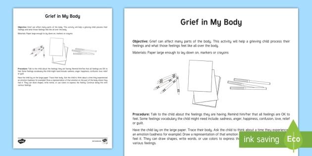 Grief In My Body Activity - grief, trauma, tragedy