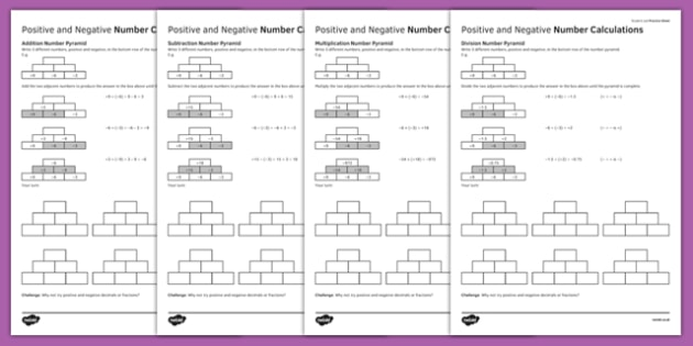 KS3_KS4 Maths Student Led Practice Sheets Positive and Negative Number