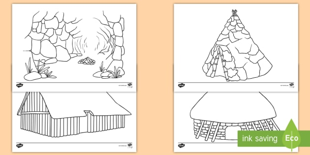 NEW Stone Age Homes Colouring Sheets