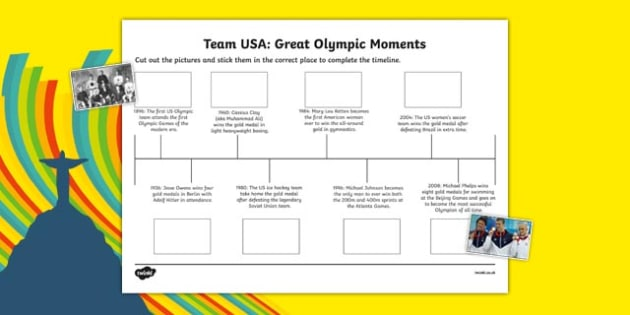Team USA: Great Olympic Moments Cut and Stick Timeline Activity Sheet Activity Sheet, worksheet