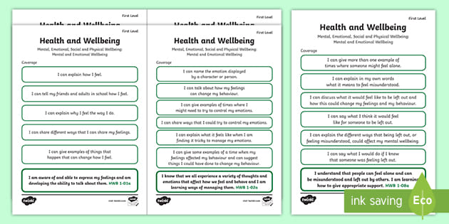 Cfe First Level Health And Wellbeing Mental And Emotional Wellbeing