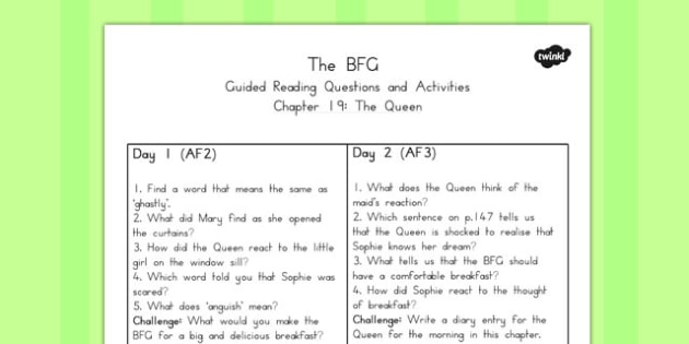 Guided Reading Questions Chapter 19 to Support Teaching on The BFG - australia, bfg, guided reading