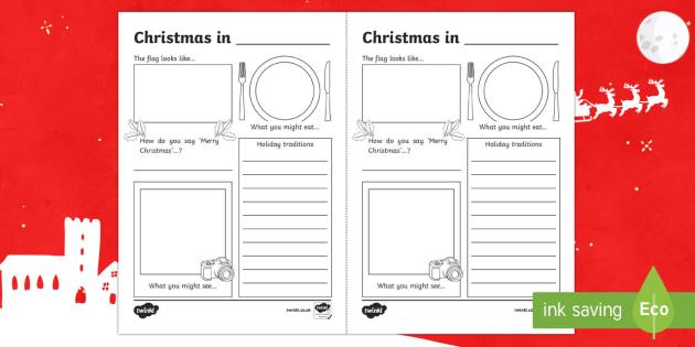 Comparing Christmas Around the World Writing Frames - christmas