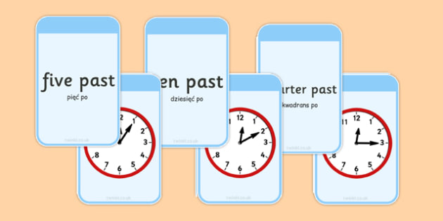 Telling The Time Matching Flashcards Polish Translation - polish, time, matching, flashcards