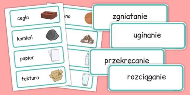 Karty ze słownictwem Popularne materiały po polsku - technika