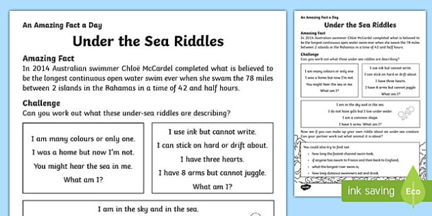 Under the Sea Riddles Activity Sheet, worksheet