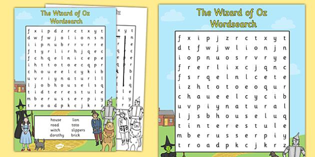 The Wizard of Oz Wordsearch - wordsearch, wizard of oz, dorothy