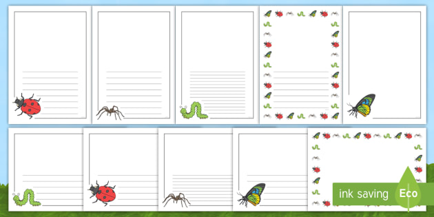 Minibeast A4 Page Borders - Minibeast Border, KS1, Fun Borders, Minibeasts, Topic, Foundation stage, knowledge and understanding of the world, investigation, living things, snail, bee, ladybird, butterfly, spider, caterpillar