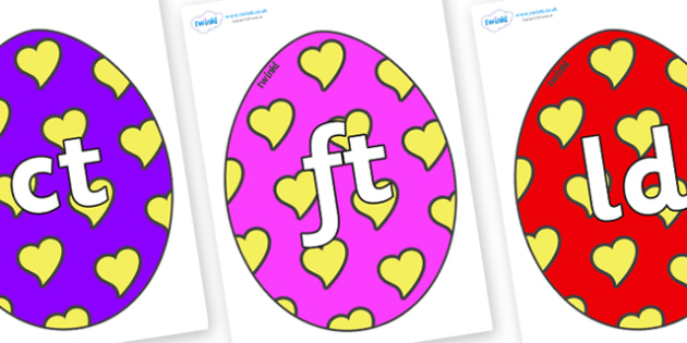 Final Letter Blends on Easter Eggs (Hearts) - Final Letters, final letter, letter blend, letter blends, consonant, consonants, digraph, trigraph, literacy, alphabet, letters, foundation stage literacy