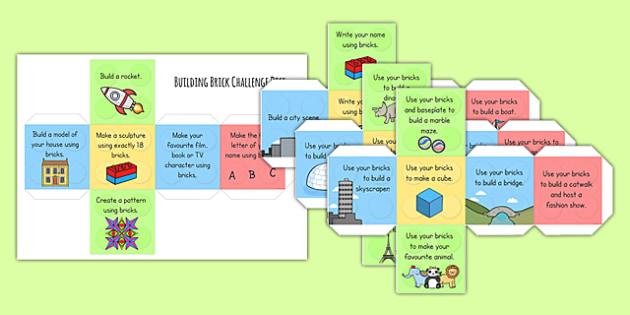 Building Brick Challenge Dice Net - challenge, games, challenge