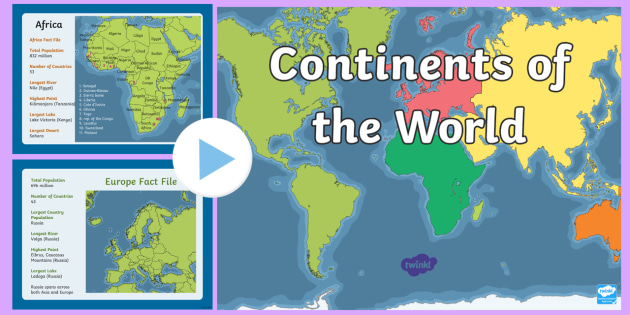 Map Of Africa Ks1.Ks1 Geography Continents Of The World Fact Powerpoint Ks1 Geography