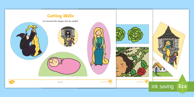 Rapunzel Themed Cutting Skills Worksheet - traditional tales, cut