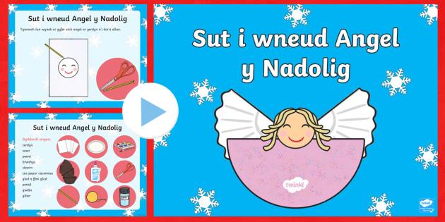 Crefft Angel y Nadolig Pŵerbwynt - nadolig, ndolig, christmas, crefft, addurn, addurniadau, coeden,Welsh