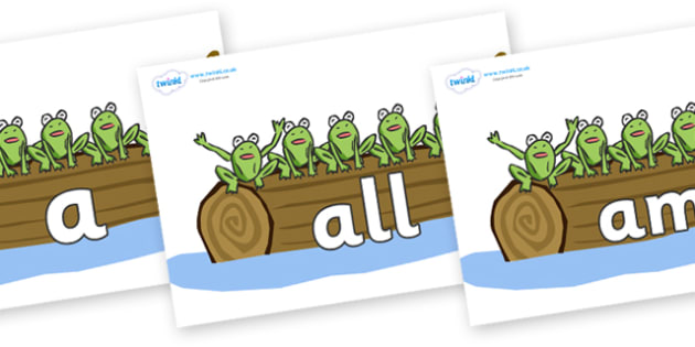 Foundation Stage 2 Keywords on Little Speckled Frogs - FS2, CLL, keywords, Communication language and literacy,  Display, Key words, high frequency words, foundation stage literacy, DfES Letters and Sounds, Letters and Sounds, spelling