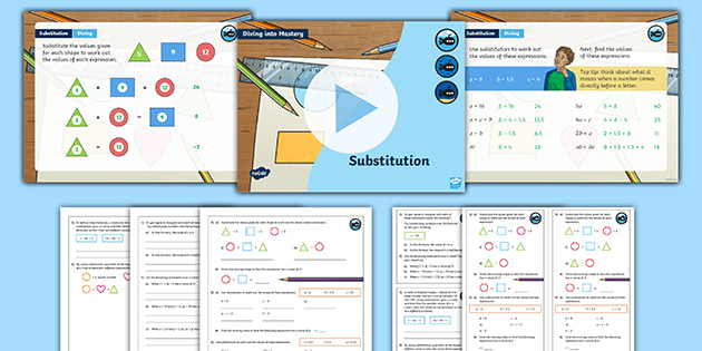 Year 6 Diving Into Mastery Substitution Worksheet Pack