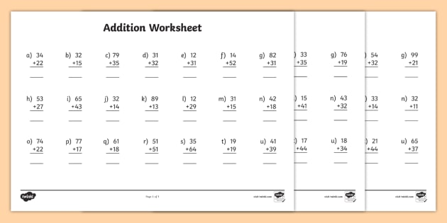 2 digit number addition worksheets. Black Bedroom Furniture Sets. Home Design Ideas