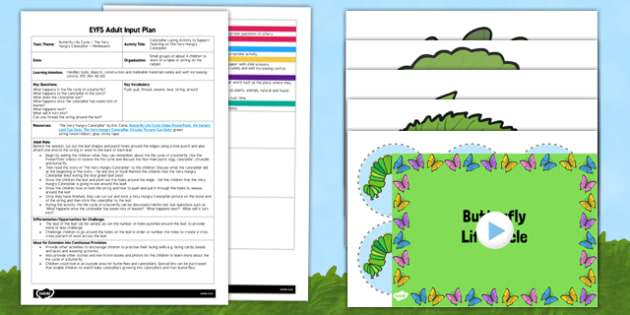 Caterpillar Lacing Activity EYFS Adult Input Plan and Resource Pack to Support Teaching on The Very Hungry Caterpillar - cut out
