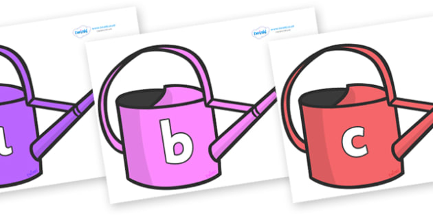 Phase 2 Phonemes on Watering Cans - Phonemes, phoneme, Phase 2, Phase two, Foundation, Literacy, Letters and Sounds, DfES, display