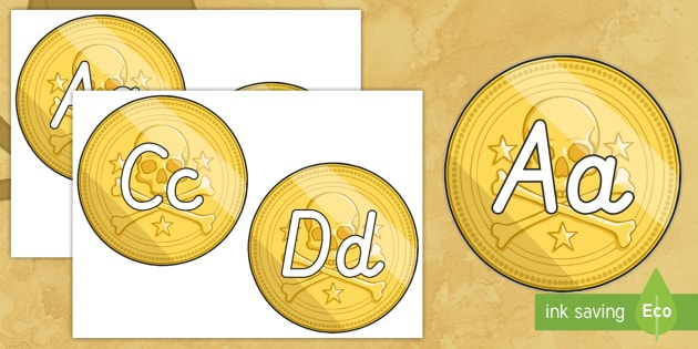 A-Z Alphabet on Pirate Coins - A-Z, A4, display, Alphabet frieze, Display letters, Letter posters, A-Z letters, Alphabet flashcards