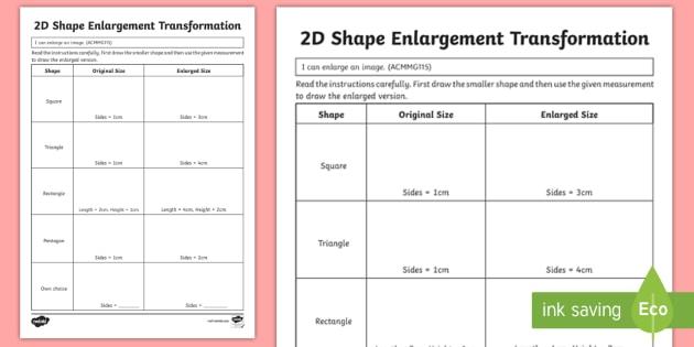 2d shape enlargement transformation worksheet activity sheet. Black Bedroom Furniture Sets. Home Design Ideas