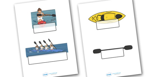 The Olympics Canoeing Self-Registration - Canoeing, Olympics, Olympic Games, sports, Olympic, London, 2012, Self registration, register, editable, labels, registration, child name label, printable labels, activity, Olympic torch, events, flag, countr