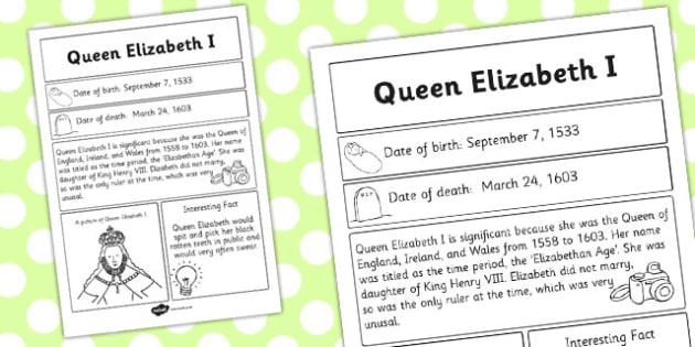 Elizabeth I Significant Individual Fact Sheet - fact sheet, facts