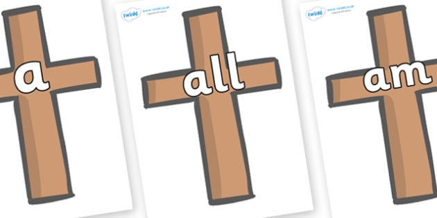 Foundation Stage 2 Keywords on Crosses - FS2, CLL, keywords, Communication language and literacy,  Display, Key words, high frequency words, foundation stage literacy, DfES Letters and Sounds, Letters and Sounds, spelling
