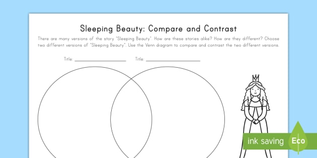 sleeping beauty: compare and contrast worksheet