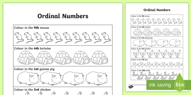 Ordinal Numbers Worksheet / Worksheet - Year 1, Year 2